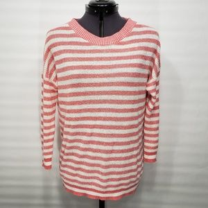 J. Crew Knit Sweater Pink and White Striped Sz XS
